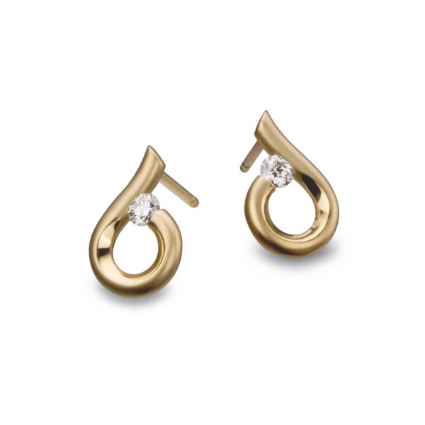 Closeup photo of 18K Yellow Gold MoonDrop Earrings