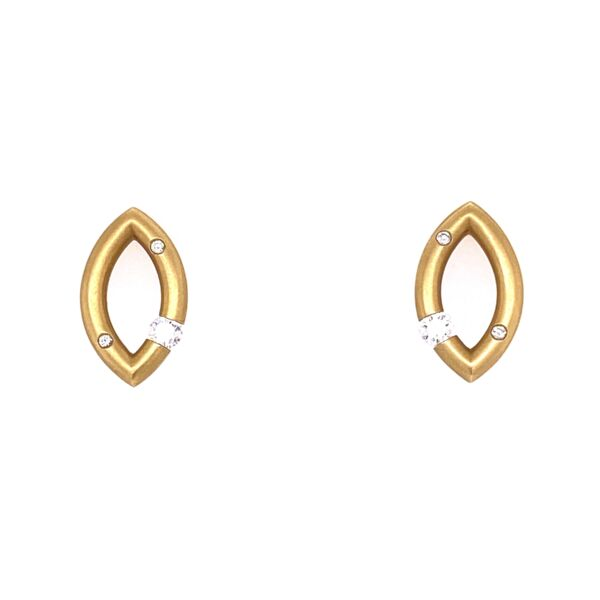 Closeup photo of Mango Micro Jazz Earrings in 18K Yellow Gold with Scattered Melee
