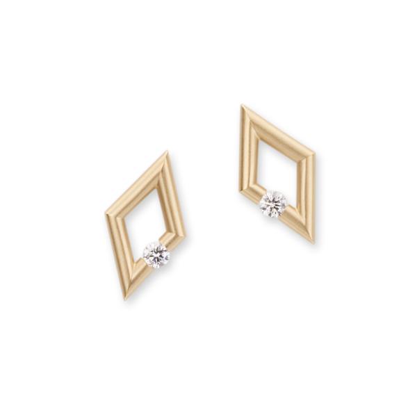 Closeup photo of Diamond-Shape Micro Jazz Earrings in 18K Yellow Gold with Diamonds