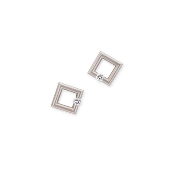Closeup photo of Square Micro Jazz Earrings in Platinum with Diamonds