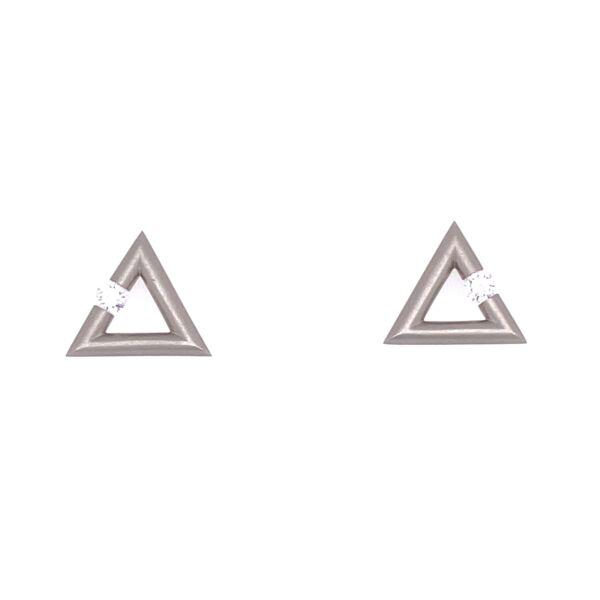 Closeup photo of Triangle Micro Jazz Earrings in Platinum with Diamonds