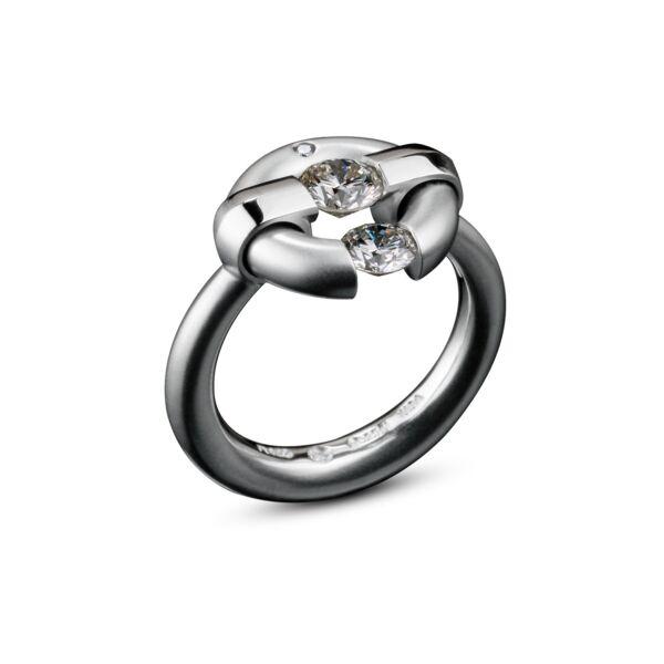 Closeup photo of Two-Stone Diamond Jazz Ring
