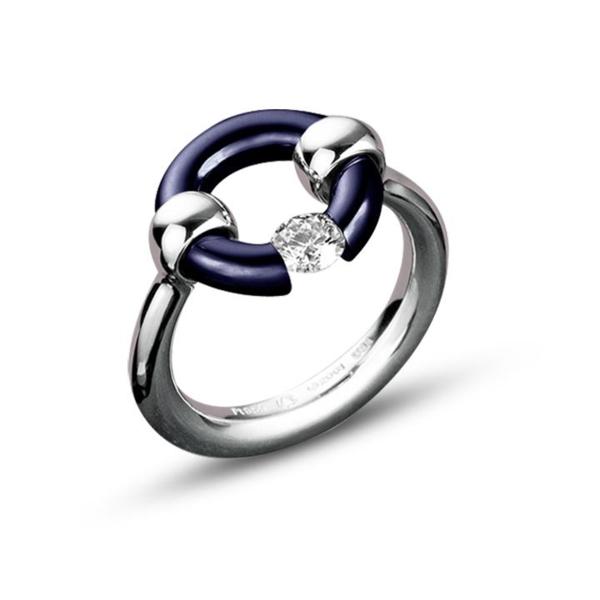Closeup photo of Midnight Blue Round-Top Jazz Ring with Diamond