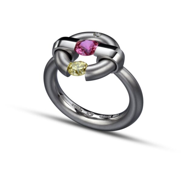 Closeup photo of Two-Stone Jazz Ring with Pink Sapphire and Yellow Diamond