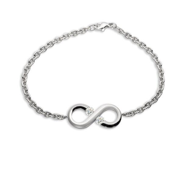 Closeup photo of Platinum Small Infinity Charm Bracelet