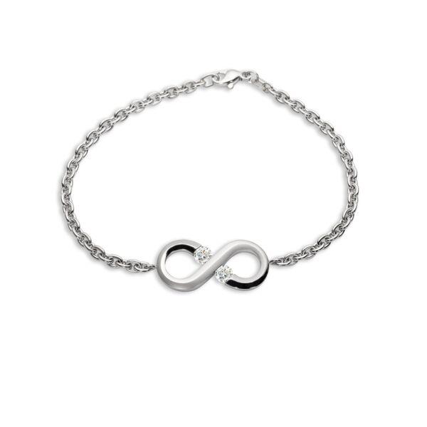 Closeup photo of Platinum Mini Infinity Charm Bracelet