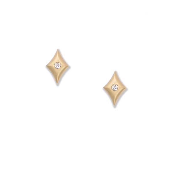 Closeup photo of Micro Cushion Earrings in 18K Yellow Gold with Flush Set Diamonds