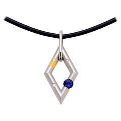 Closeup photo of Diamond-Shape Jazz Pendant with .28ct Sapphire