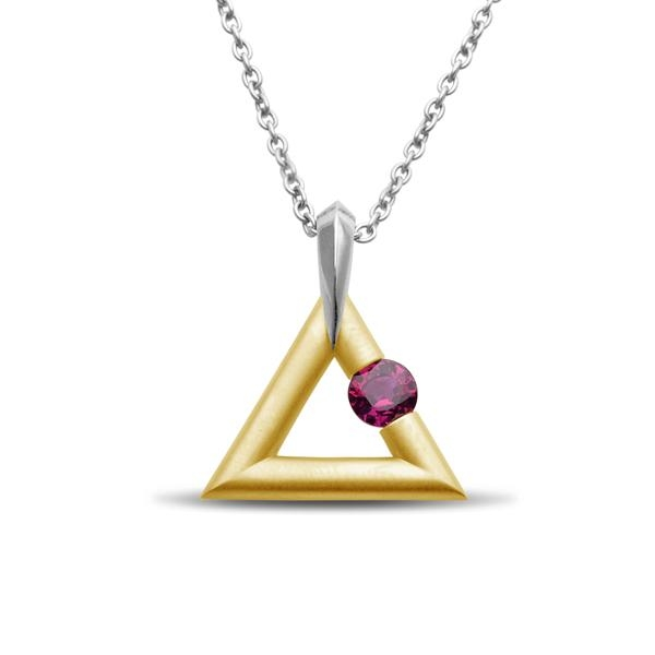 Closeup photo of 18K Yellow Gold and Platinum Logo Pendant with 0.63 ct Ruby