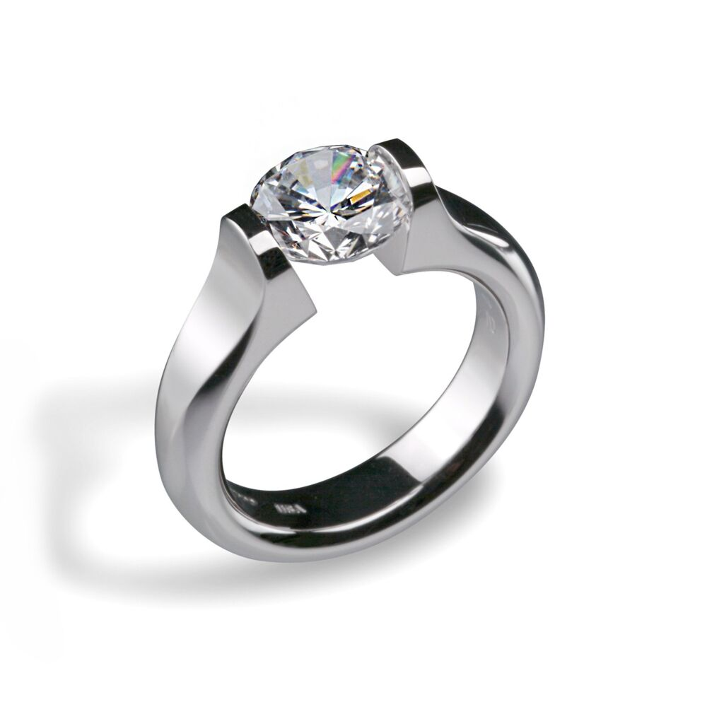 Omega Flat Engagement Ring for 4ct Round in Shiny Platinum Size 6