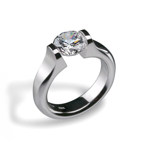 Closeup photo of Omega Flat Engagement Ring for 4ct Round in Shiny Platinum Size 6