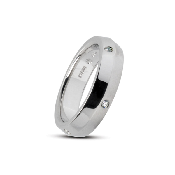 Closeup photo of Wide Gothic Band with 6 Melee in Half Matte Platinum Size 6.25