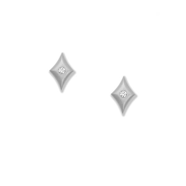 Closeup photo of Micro Cushion Earrings in Platinum with Diamonds