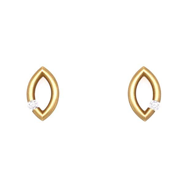 Closeup photo of Mango Micro Jazz Earrings in 18K Yellow Gold with Diamonds