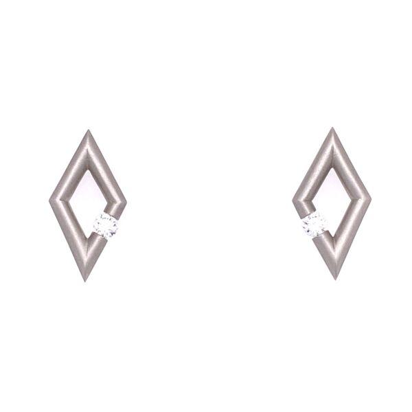 Closeup photo of Diamond-Shape Micro Jazz Earrings in Platinum with Diamonds