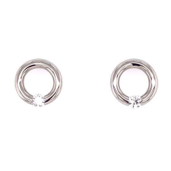 Closeup photo of Large Round Jazz Earrings in Platinum with Diamonds