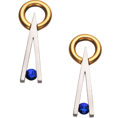 Closeup photo of Swing V Earrings in Platinum & 18K with .57tcw Sapphire