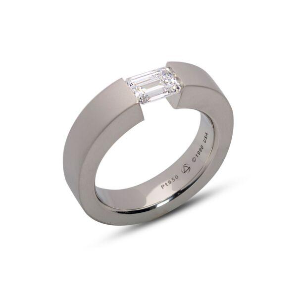 Closeup photo of FS Ring Platinum 5.4 * 5.89 CZ, Size 10.25