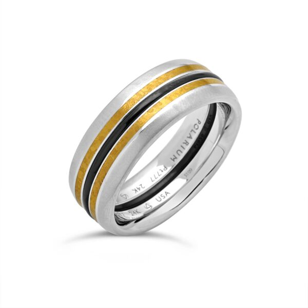 Closeup photo of Outer Bands 2-Gether Kissing Bands w Satin Edge 24k Inlay Size 6.5