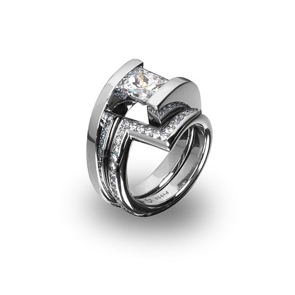 Zig Band with Pave Pt 950 8.5g for 1.01 - 1.50 Ct Helix Ring