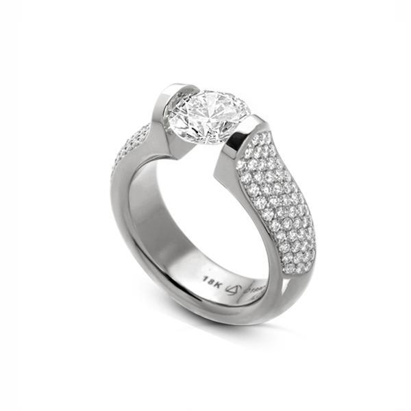 5-Row Pave 5/8 Ct Omega Pt950 15.6g 7mm RD CZ