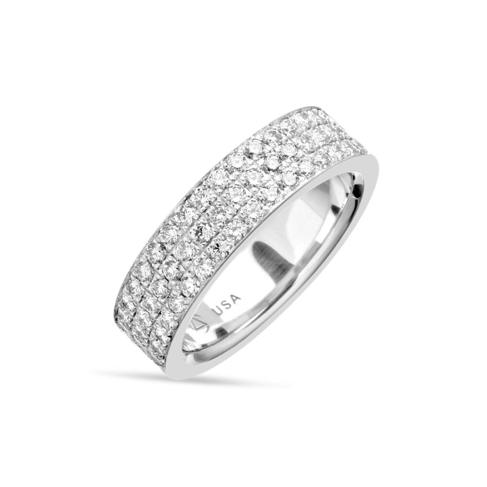 3 Row Pave Band in Platinum, 13.3g, Size 6.25