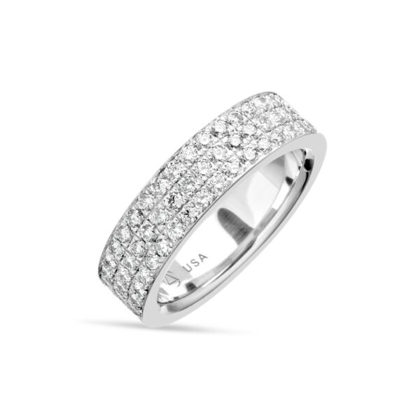 Closeup photo of 3 Row Pave Band in Platinum, 13.3g, Size 6.25
