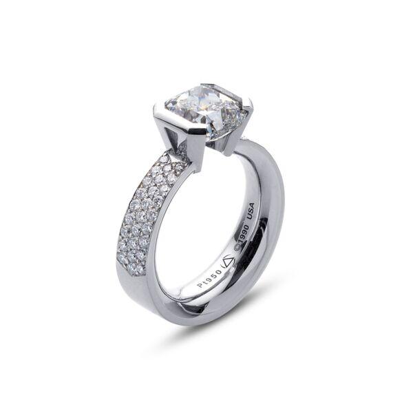 Closeup photo of Flat Elara Ring in Platinum with Pave Size 3.75