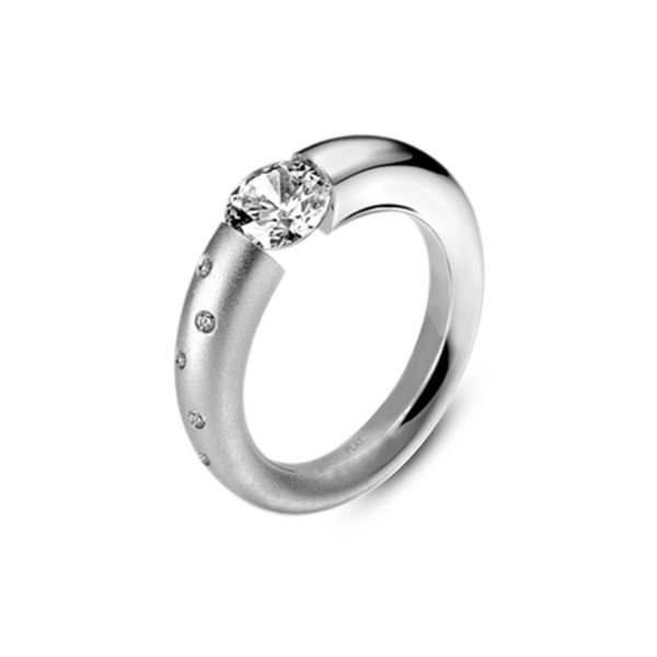 Closeup photo of Sush Ring in Half Matte Platinum with Scattered Melee Size 6.25