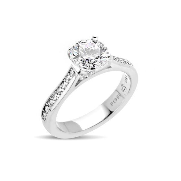 Closeup photo of Celia Ring in Platinum Size 5.75