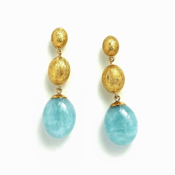 Closeup photo of Dancing In The Rain Aquamarine 3-bead Dangle Earrings