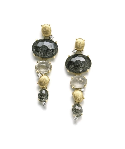 Closeup photo of Ipanema Rutilated Quartz Drop Earrings