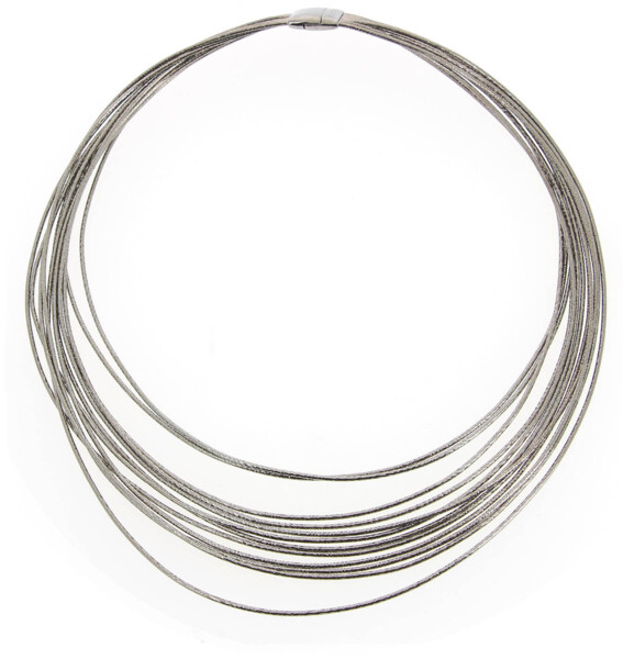 Closeup photo of Dna Spring Wide Necklace (Ruthenium)