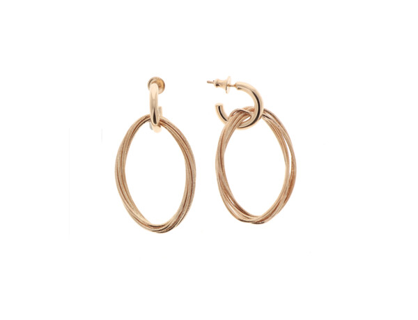 Closeup photo of Dna Spring Small Oval Earrings (Rose Gold)
