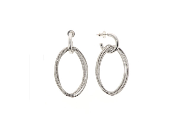 Closeup photo of Dna Spring Small Oval Earrings (Rhodium)