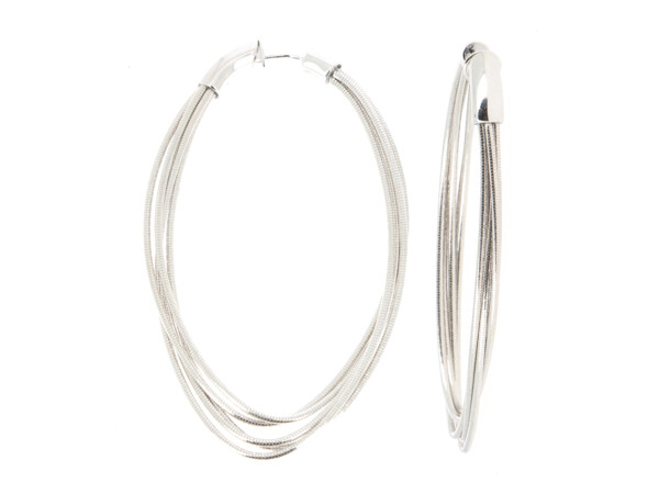 Closeup photo of Dna Spring Large Oval Hoop Earrings (Rhodium)