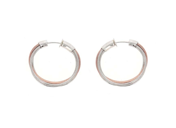 Closeup photo of Dna Spring Mini Hoop Earrings (Rhodium And Rose Gold)