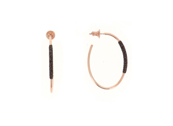 Closeup photo of Polvere Di Sogni Thin Small Oval Hoop Earrings (Rose Gold And Dark Brown Dust)