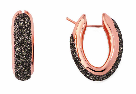 Polvere Di Sogni Oval Hoop Earrings (Rose Gold And Antelope Dust)
