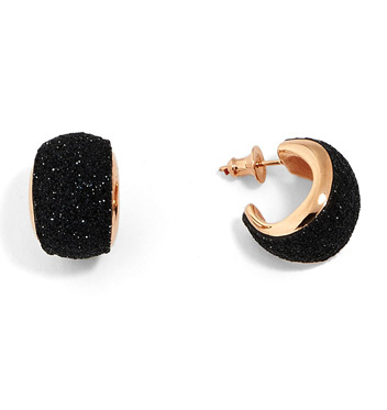 Closeup photo of Polvere Di Sogni Dome Huggie Earrings (Rose Gold And Black Dust)