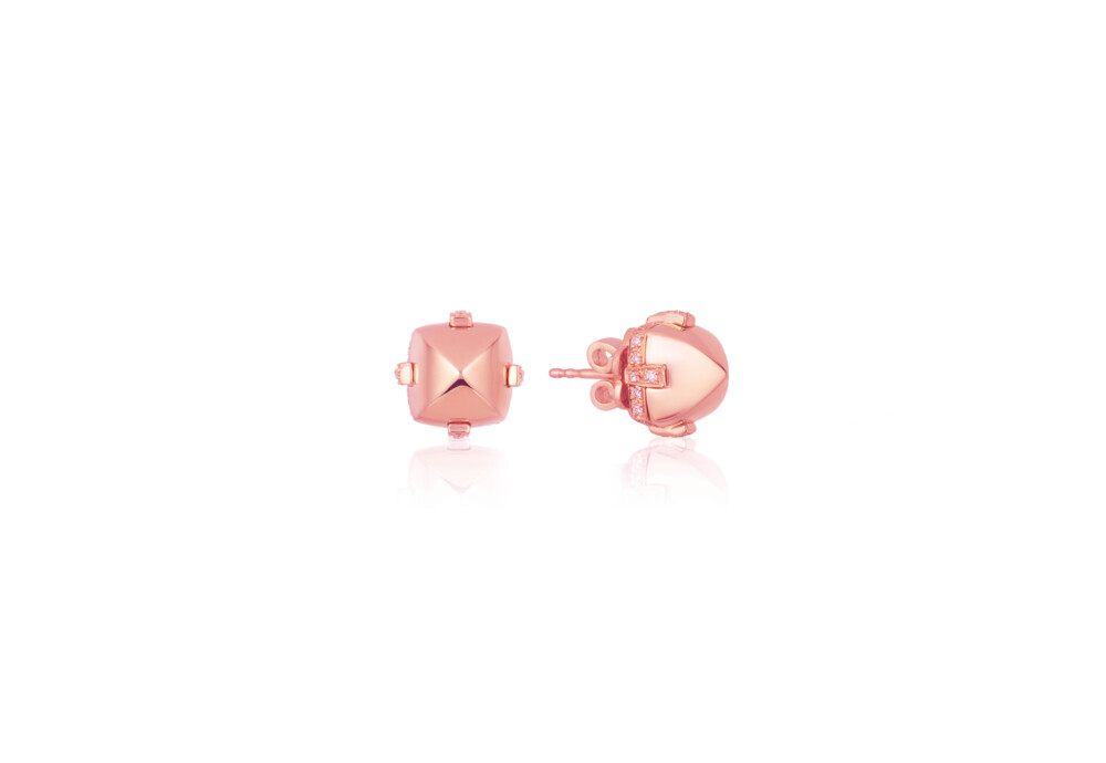 Sugarloaf Pave Rose Gold Earrings