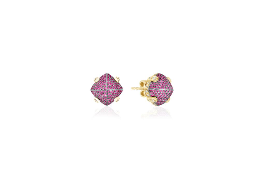 Sugarloaf Pave Ruby Earrings