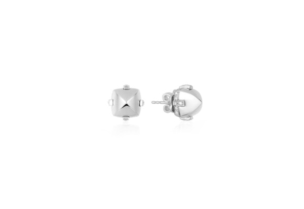 Closeup photo of Sugarloaf Pave White Gold Earrings