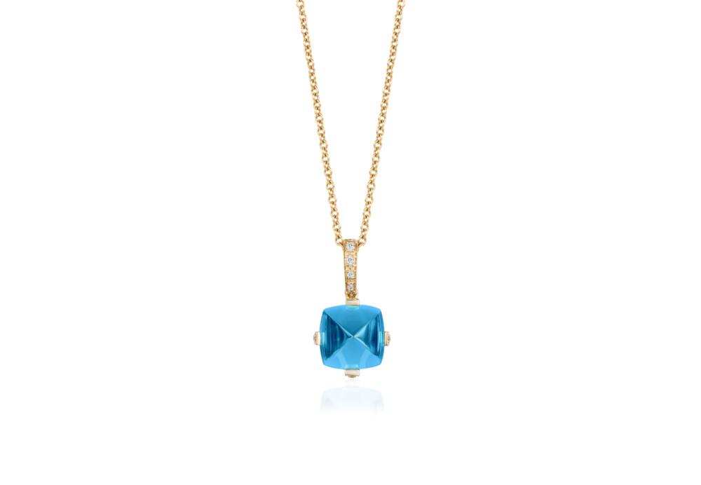 Sugarloaf Pave Blue Topaz Pendant