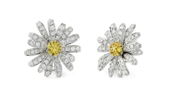 Closeup photo of DIAMOND DAISY EARRINGS