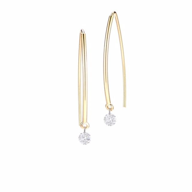 Spearhooks + Pierced Round Diamond 0.25