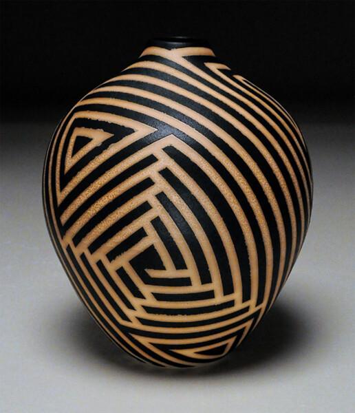 Closeup photo of Antiqued Striped Vessel