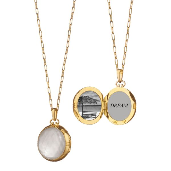 Closeup photo of Rock Crystal And Mother Of Pearl Locket