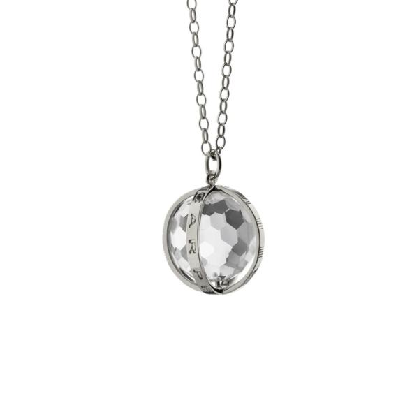 Closeup photo of Large Carpe Diem Rock Crystal Charm (Sterling Silver)