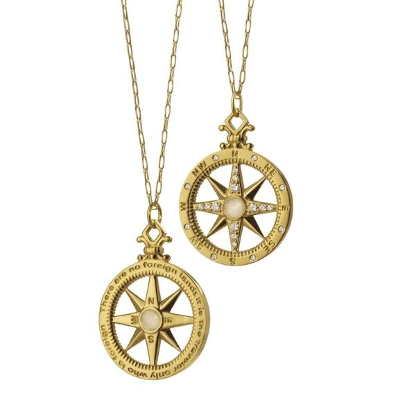 Closeup photo of Global Compass Charm (Yellow Gold)